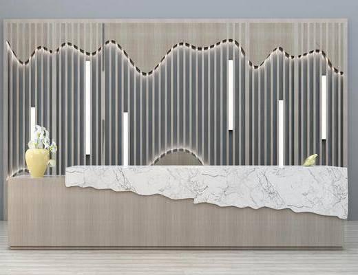 前台接待台, 背景墙, 花瓶花卉, 新中式