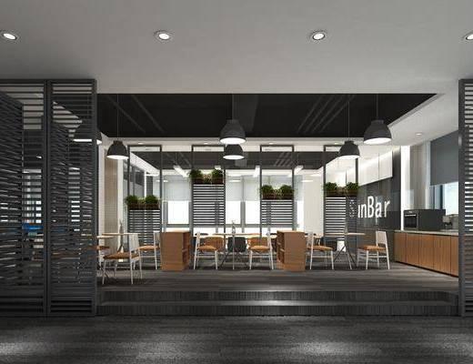 现代休闲区, 休闲区, 桌椅组合, 椅子, 隔断, 现代