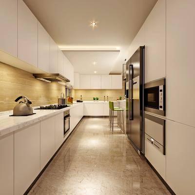 厨房, 现代厨房, 橱柜, 摆件组合, 冰箱, 现代, 厨具