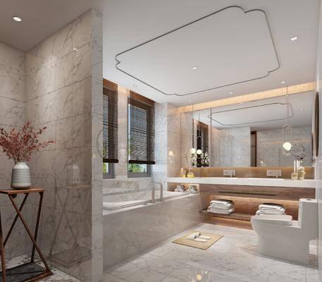 卫生间, 浴缸, ?#35789;?#21488;, 马桶, 吊灯, 装饰镜, 花瓶花卉, 摆件, 装饰品, 陈设品, 现代