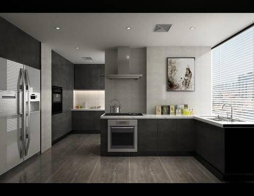 现代, 厨房, 厨具, 家用电器