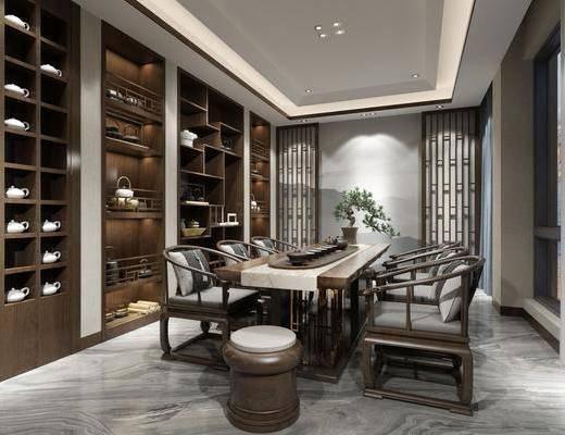 茶室, 新中式茶室, 桌椅组合, 置物柜, 摆件组合, 茶具