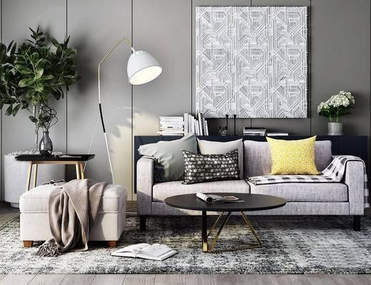 沙发茶几组合, 落地灯, 植物盆栽, 北欧