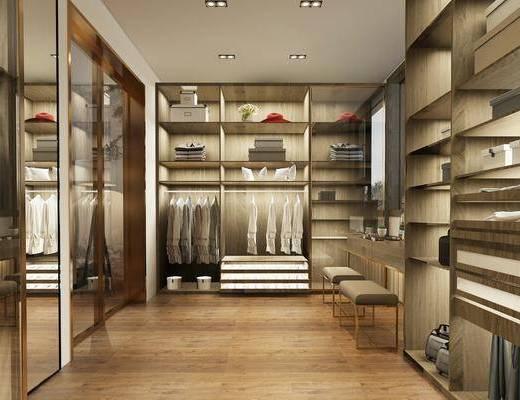 卧室, 衣帽间, 双人床, 装饰画, 挂画, 床头柜, 落地灯, 吊灯, 服饰, 凳子, 现代