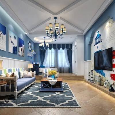 客厅, 沙发组合, 沙发茶几组合, 装饰画, 陈设品, 摆件, 吊灯, 台灯, 地中海