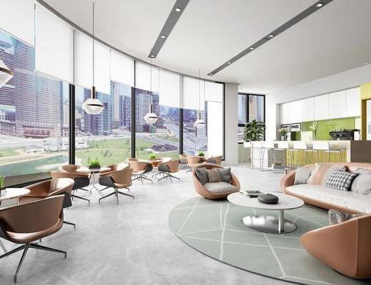 咖啡厅, 沙发组合, 茶几, 单椅, 吊灯