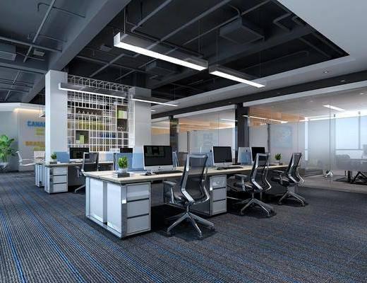桌椅组合, 吊灯, 电脑桌