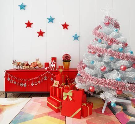圣诞装饰, 摆件组合, 边柜, 墙饰