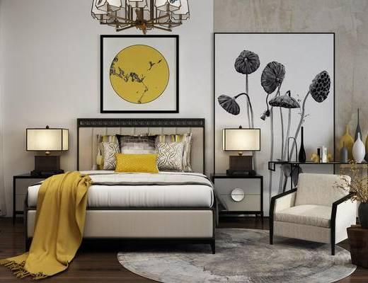 中式卧室, 床, 床头柜组合, 椅子, 挂画, 台灯