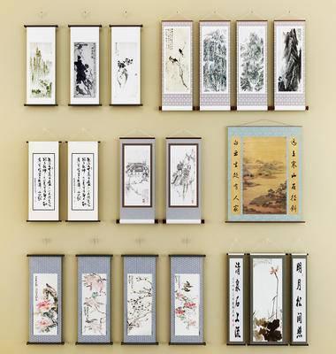 中式卷轴挂画, 中式墙饰