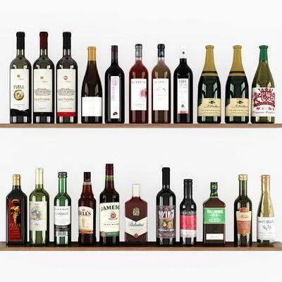 现代, 红酒, 酒瓶, 摆件