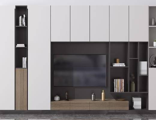 造型墙, 书籍摆件, 电视柜, 背景墙