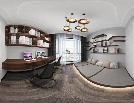 书房, 书桌, 书柜, 吊灯, 现代, 书架, 书籍, 榻榻米