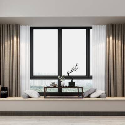 现代飘窗, 现代, 飘窗, 窗帘
