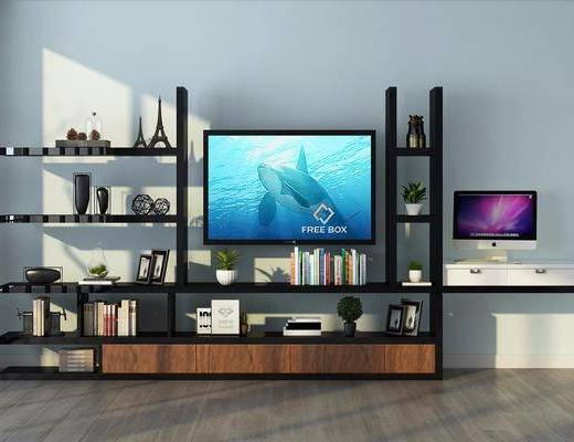 电视架, 装饰柜, 书桌, 装饰架, 摆件, 装饰品, 陈设品, 书架, 现代