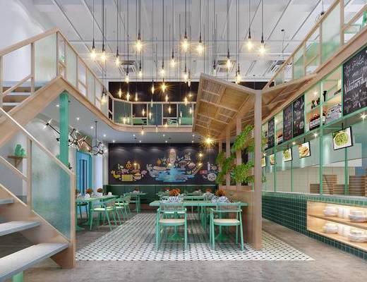 现代, 快餐厅, 餐厅, 餐桌椅, 桌椅组合, 现代餐厅