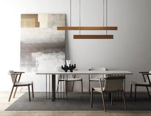 北欧简约, 北欧餐桌, 实木餐桌, 餐桌, 椅子, 餐椅组合, 北欧, 下得乐3888套模型合辑