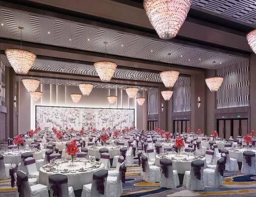 餐厅, 餐桌, 桌椅组合, 吊灯, 宴会厅, 背景墙