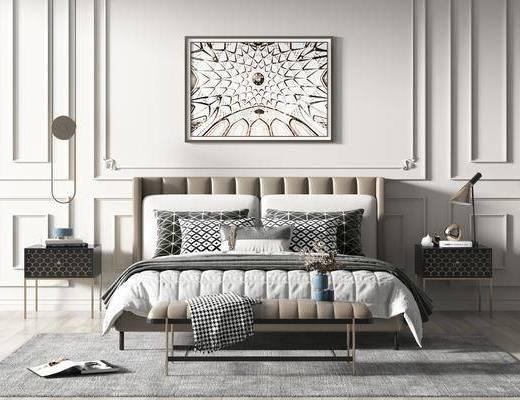 现代卧室, 双人床, 挂画, 床头柜