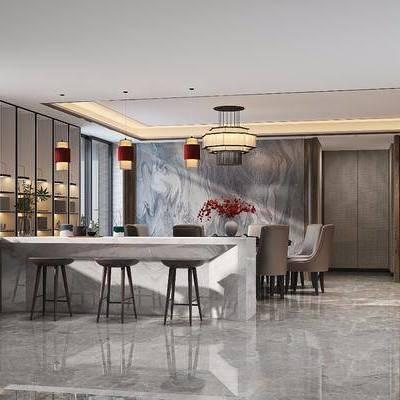新中式餐厅吧台, 新中式, 餐厅, 吧台, 中式吊灯, 灯笼, 吧台椅