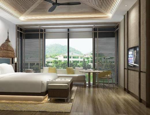 卧室, ?#39057;?#23458;房, 双人床, 床尾凳, 多人沙发, 吊灯, 茶几, ?#39184;?#26588;, 东南亚