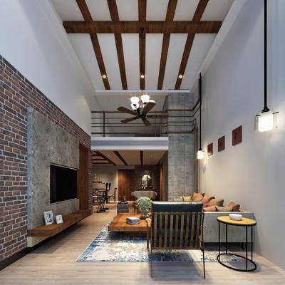 工业风客厅, 沙发组合, 客餐厅, 沙发茶几组合