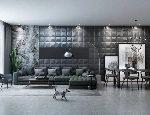 现代风格沙发组合, 餐桌组合, 吊灯组合