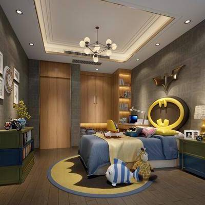 儿童房, 卧室, 现代卧室, 床, 边柜, 装饰柜, 床头柜, 台灯, 吊灯, 玩具