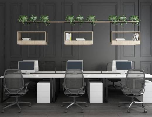 办公桌, 单椅, 现代办公桌椅3d模型, 书籍