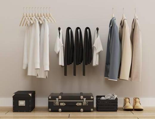 衣服上衣, 服装鞋帽, 男鞋男装, 旅行箱, 外套, 衣架, 现代