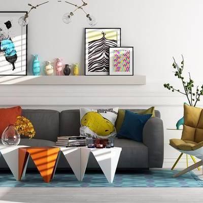 多人沙发, 布艺沙发, 单人沙发, 茶几, 装饰品, 摆件, 北欧
