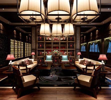 饭店, 餐厅, 多人沙发, 茶几, 边几, 台灯, 单人沙发, 吊灯, 中式