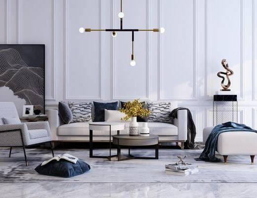 沙发组合, 茶几, 单椅, 装饰品, 吊灯