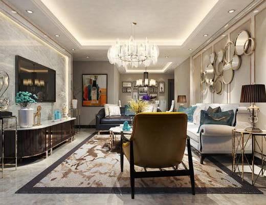 简欧客厅, 客厅, 沙发组合, 简欧沙发, 沙发茶几组合, 吊灯