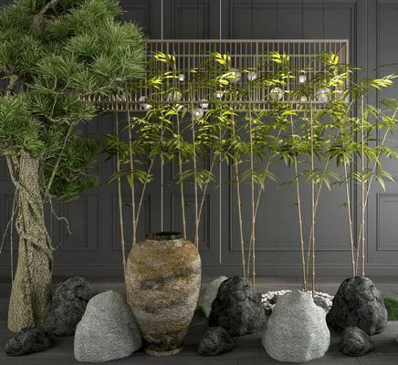 树木, 竹子, 石头, 陶罐, 新中式