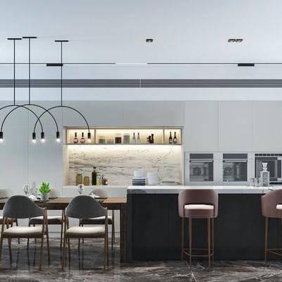 餐厅, 现代餐厅, 餐桌, 吧台, 吧椅, 餐具, 植物, 盆栽, 吊灯, 厨具, 橱柜, 储物罐, 现代