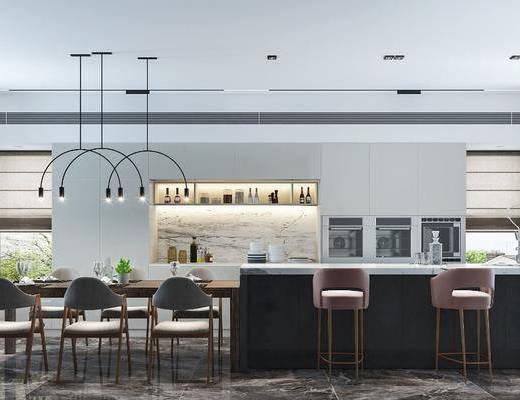 餐廳, 現代餐廳, 餐桌, 吧臺, 吧椅, 餐具, 植物, 盆栽, 吊燈, 廚具, 櫥柜, 儲物罐, 現代