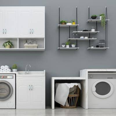 现代洗衣机, 现代, 洗衣机, 吊柜, 植物