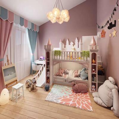 北欧卧室, 北欧儿童房, 儿童房, 双层床, 北欧吊灯, 玩具