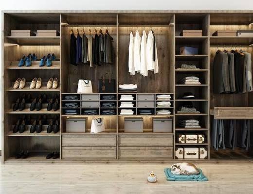 实木衣柜, 衣柜, 服饰, 边几, 台灯, 宠物猫, 北欧
