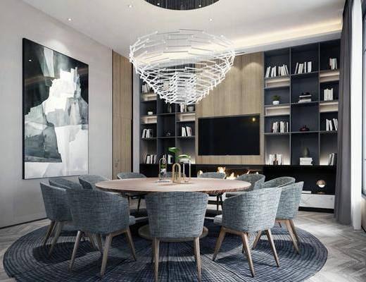 餐厅, 桌椅组合, 餐桌, 餐椅, 单人椅, 吊灯, 装饰柜, 装饰画, 挂画, 书籍, 现代