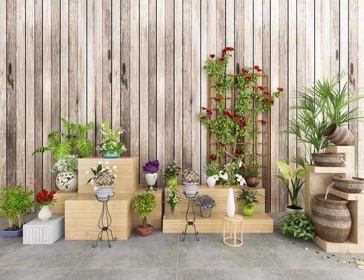 装饰架, 盆栽, 绿植, 花卉, 现代