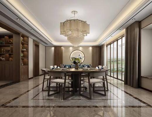 新中式, 客餐厅, 单人沙发, 茶几, 单椅, 餐桌椅, 吊灯