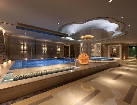 游泳池, 泳池, 现代, 水池