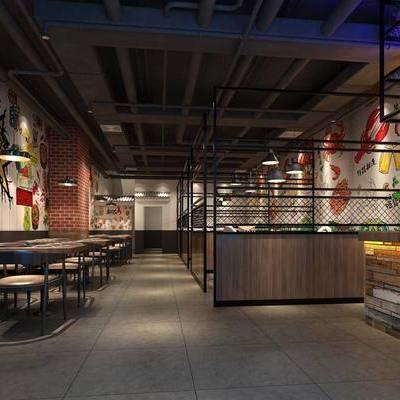 餐厅, 餐饮, 工业风, 管道, 餐桌, 椅子, 单椅, 前台, 接待, 吊灯, 卡座, 红砖, 墙绘, 墙画, 装饰品, 摆件