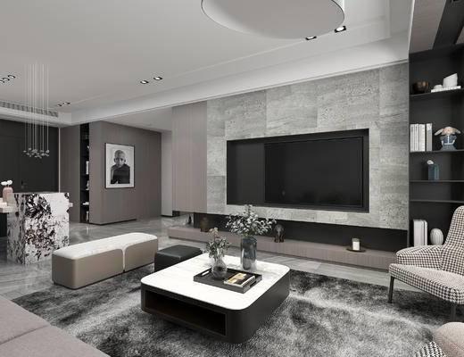 沙发组合, 电视, 单椅, 餐桌, 置物柜