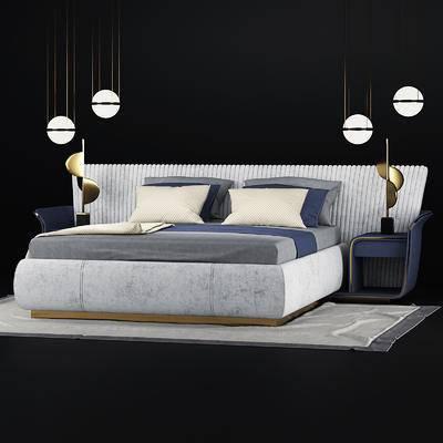 双人床, 床头柜, 吊灯, 地毯, 现代, 床具组合