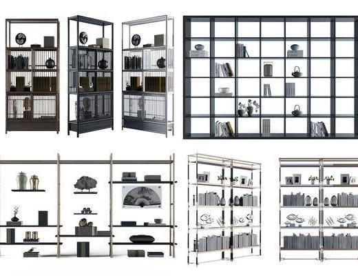 中式博估架摆设组合, 中式, 博古架, 装饰品, 摆件