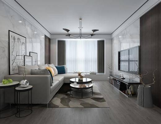 现代简约客厅, 现代, 客厅, 皮沙发, 转角沙发, 圆几, 现代吊灯, 装饰画
