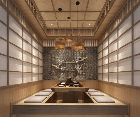 餐厅包间, 包厢, 茶桌, 茶具, 吊灯, 墙饰, 日式